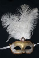 White and Gold Tall Feather Mask